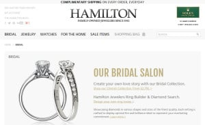 Ecommerce Web Design for Hamilton Jewelers: Bridal Cateogry Page