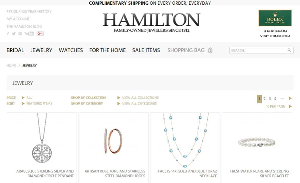 Ecommerce Web Design for Hamilton Jewelers: Category Page