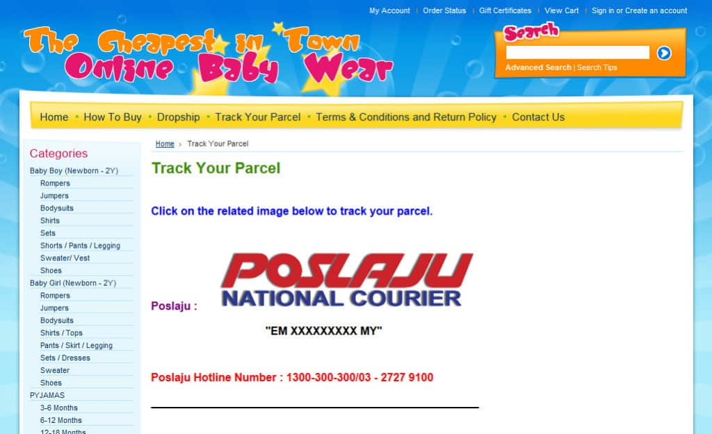Online Baby Wear Ecommerce Site Design: Track Parcel Page