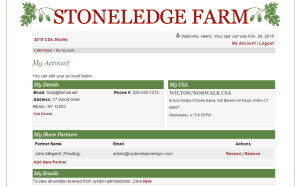 Custom Ecommerce Design for Community Supported Agriculture Sreenshot: My Account