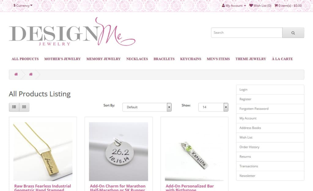 Design Me Jewelry Ecommerce Site Design: Category Page
