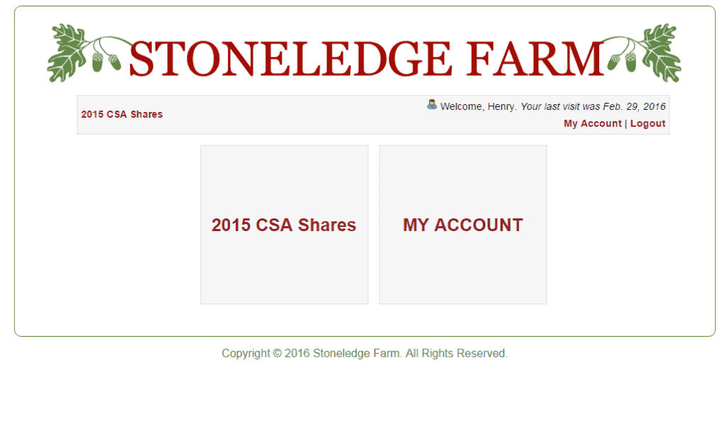 Custom Ecommerce Design for Community Supported Agriculture Sreenshot: Shares