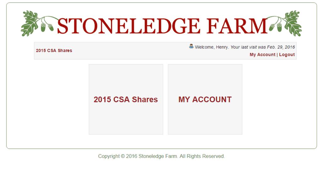 Custom Ecommerce Design for Community Supported Agriculture Sreenshot: Shares