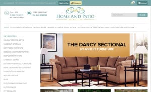 Responsive Ecommerce Design for Home and Patio Decor Center: Home Page