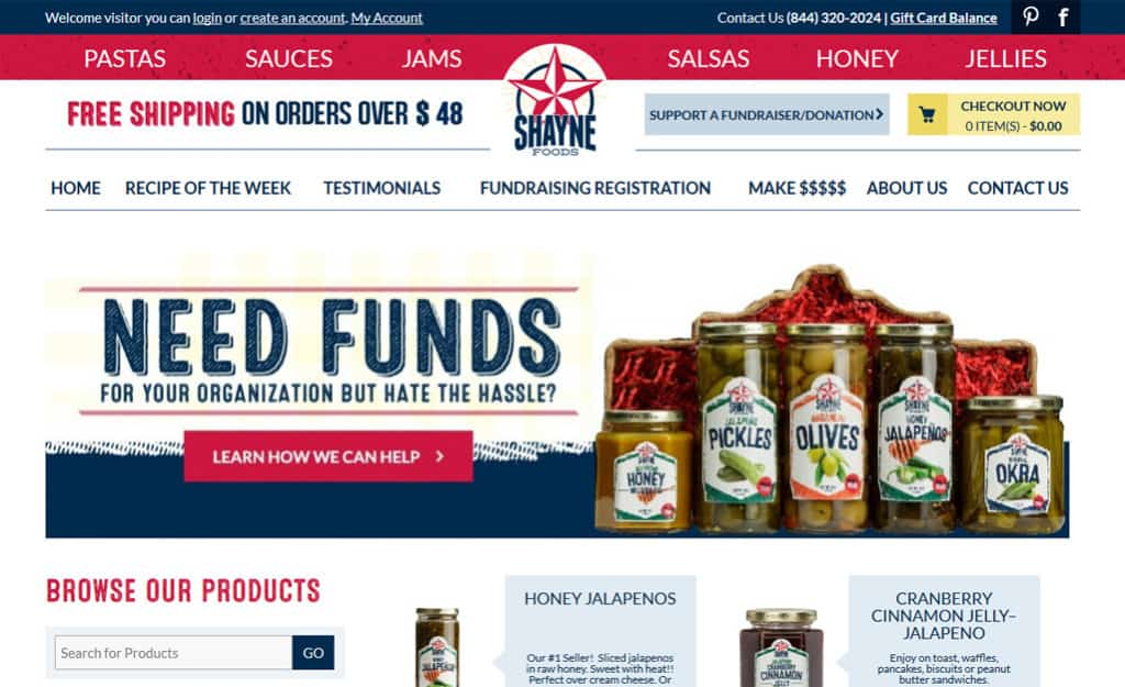Shayne Foods Custom Ecommerce Site Design: Home Page