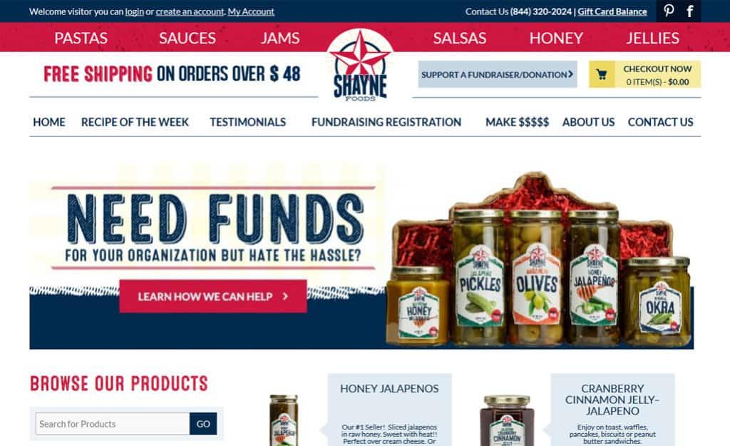 Shayne Foods Custom Ecommerce Site Design: Home Page