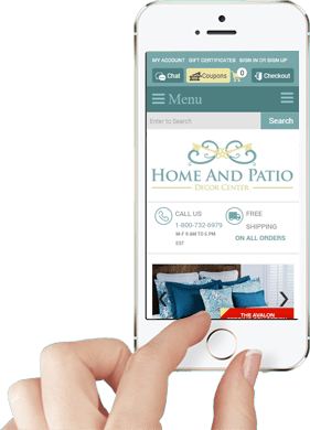Responsive Ecommerce Design for Home and Patio Decor Center: Mobile Home Page