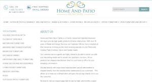 Home & Patio Decor Center Ecommerce Design Sreenshot: About Us